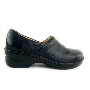 Born Black Leather Closed Back Slip On Clog